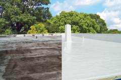 Before and after silicone roof coating on flat roof